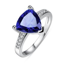 Vienna Jewelry White Gold Plated Triangular Saphire Classic Ring Size 7 - Thumbnail 0