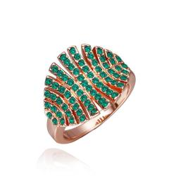 Vienna Jewelry Rose Gold Plated Open Cut Emerlad Leaf Branch Ring Size 8 - Thumbnail 0