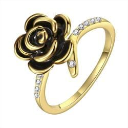 Vienna Jewelry Gold Plated Onyx Layering Floral Ring Size 7 - Thumbnail 0
