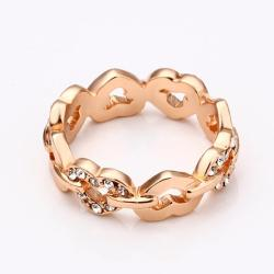 Vienna Jewelry Rose Gold Plated Connected Chain Ring Size 7 - Thumbnail 0