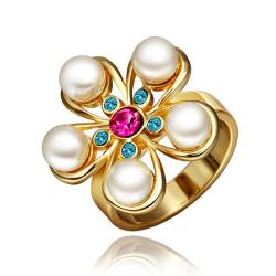 Vienna Jewelry Gold Plated Five Pearl Encrusted Ring Size 8 - Thumbnail 0