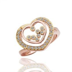 Vienna Jewelry Rose Gold Plated Hollow Hear Ring Size 8 - Thumbnail 0