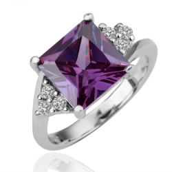 Vienna Jewelry White Gold Plated Purple Citrine Curved Ring Size 8 - Thumbnail 0