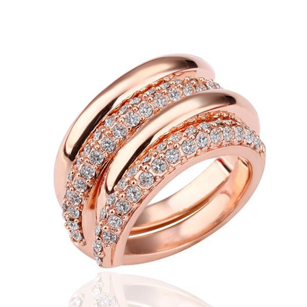 Vienna Jewelry Rose Gold Plated Duo-Swirl Ring Size 8