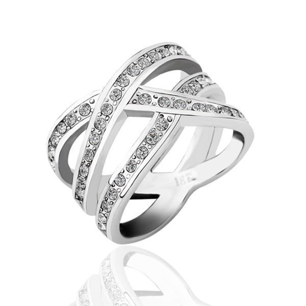 Vienna Jewelry White Gold Plated Infinite Matrix Ring Size 6
