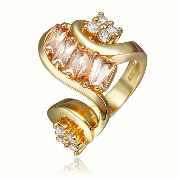 Vienna Jewelry Gold Plated Swirl Modern Twist Design Ring Size 8