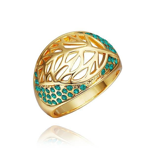 Vienna Jewelry Gold Plated Laser Cut Round Emerald Covering Ring Size 8