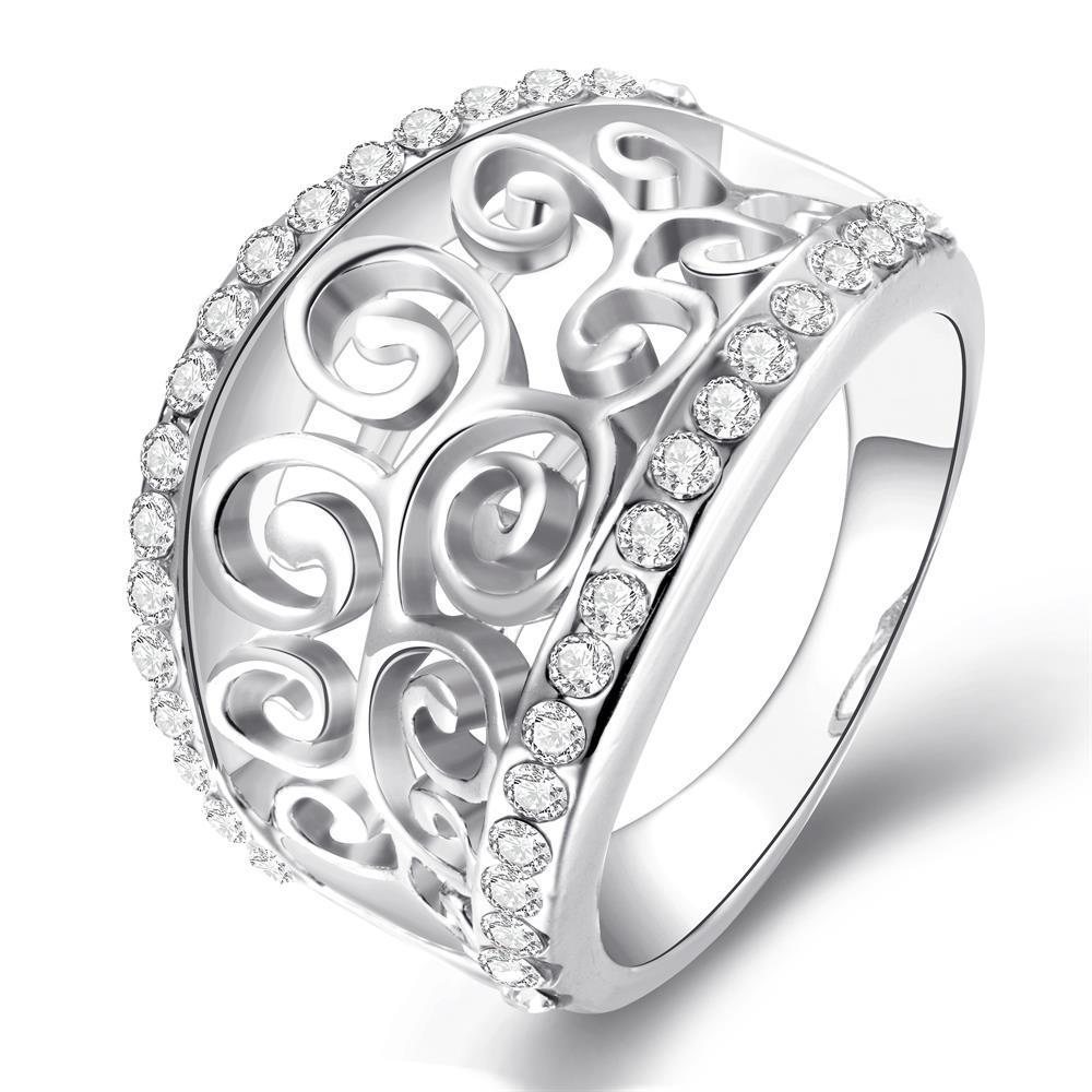 Vienna Jewelry White Gold Plated Swirl Design Thick Ring Size 8