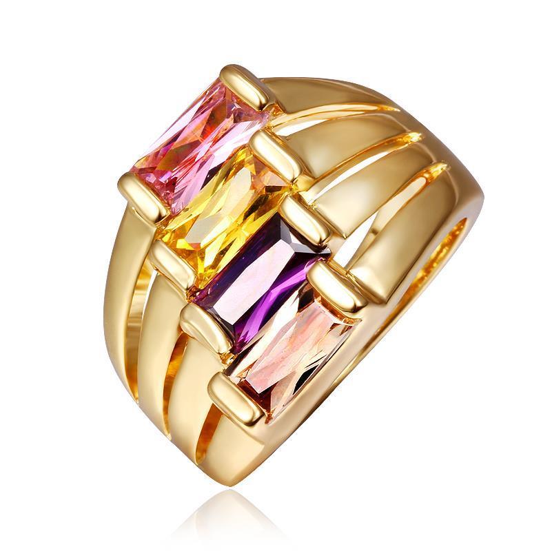 Vienna Jewelry Gold Plated Quad Rainbow Jewels Ring Size 8