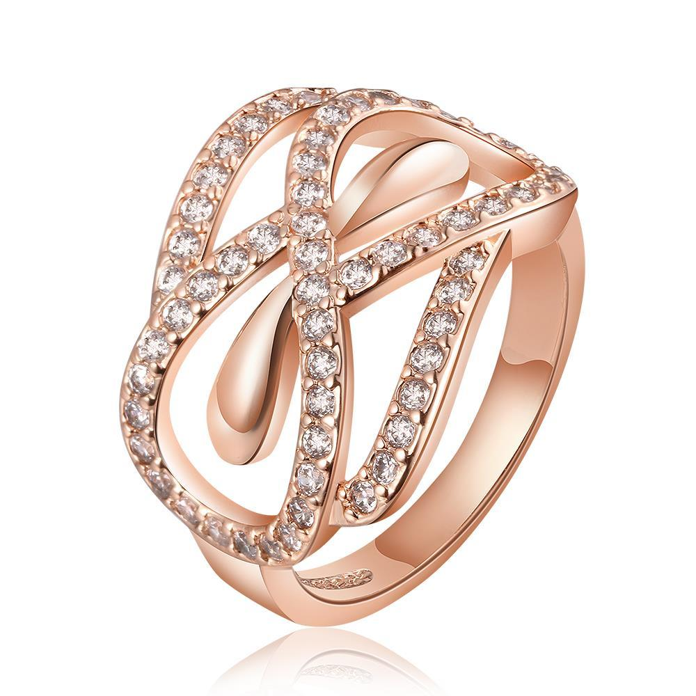 Vienna Jewelry Rose Gold Plated Love Knot Twisted Design Ring Size 7