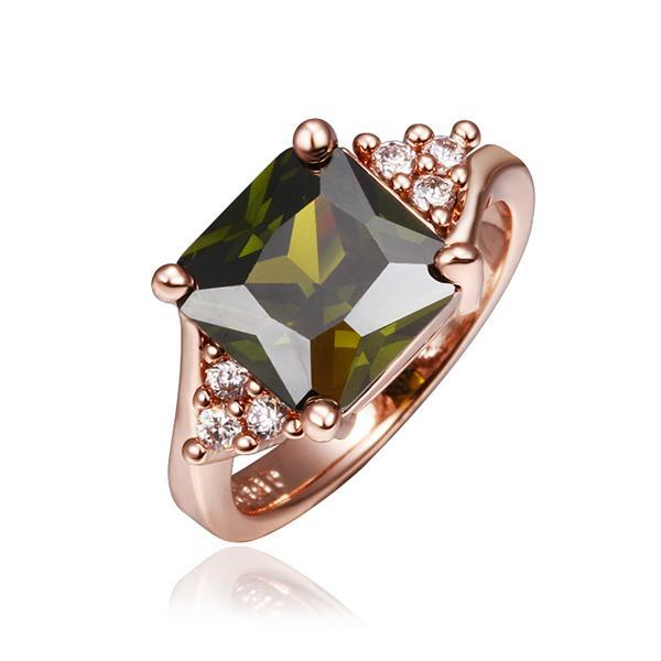Vienna Jewelry Rose Gold Plated Emerald Center Ring Size 8