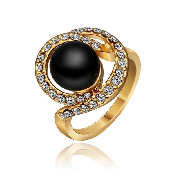 Vienna Jewelry Gold Plated Swirl Onyx Gem Ring Size 8