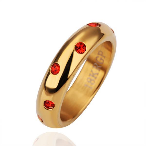 Vienna Jewelry Petite Gold Plated Ruby Encrusted Ring Size 6