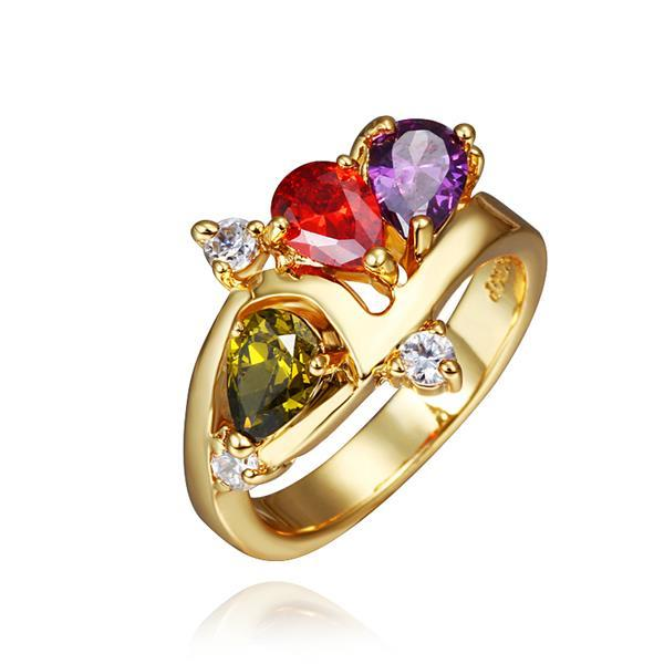 Vienna Jewelry Gold Plated Trio-Jewels Rainbow Ring Size 8
