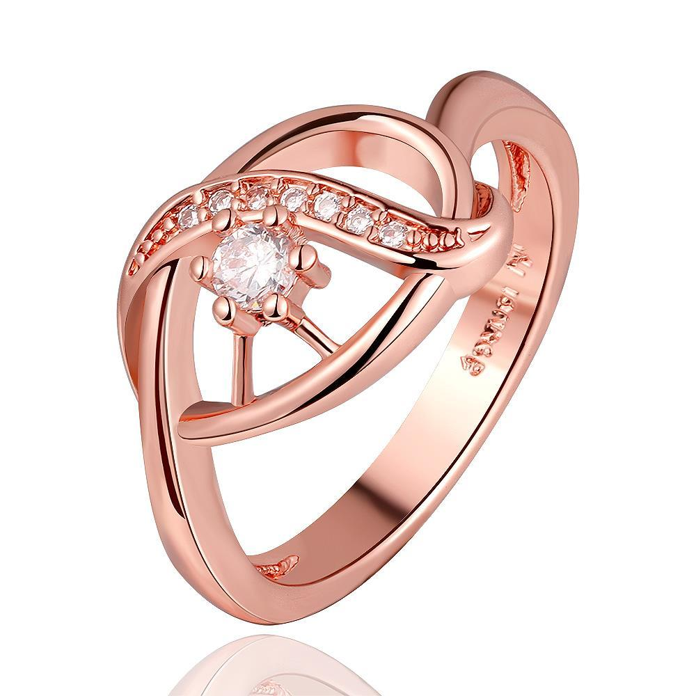 Vienna Jewelry Rose Gold Plated Laser Cut Circular Emblem Ring Size 8