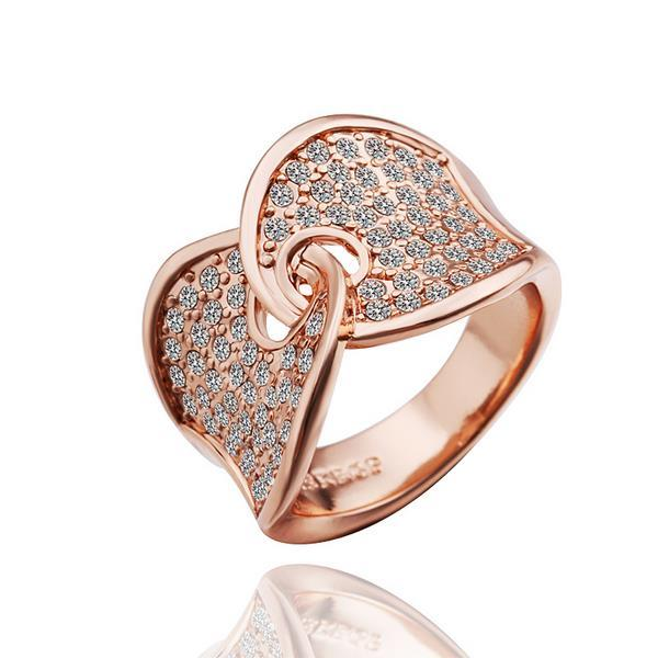 Vienna Jewelry Rose Gold Plated Hugging Clasp Ring Size 8