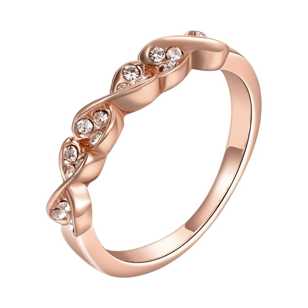 Vienna Jewelry Rose Gold Plated Heart Swirl Design Classical Ring Size 7