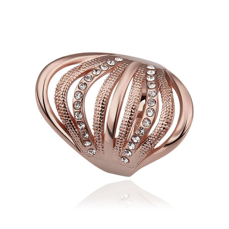 Vienna Jewelry Rose Gold Plated Half Wheel Crystal Lining Ring Size 8