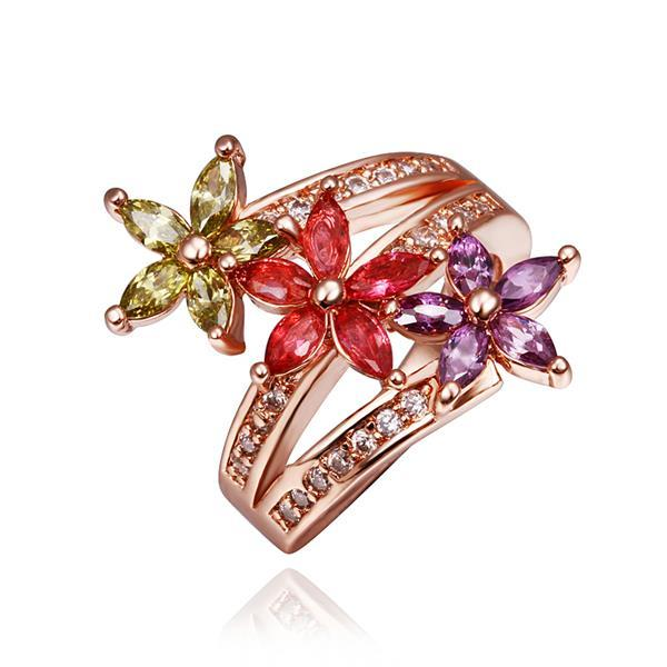 Vienna Jewelry Rose Gold Plated Trio Rainbow Swril Ring Size 8