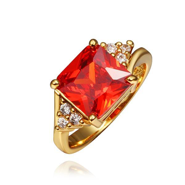 Vienna Jewelry Gold Plated Ruby Red Center Ring Size 8