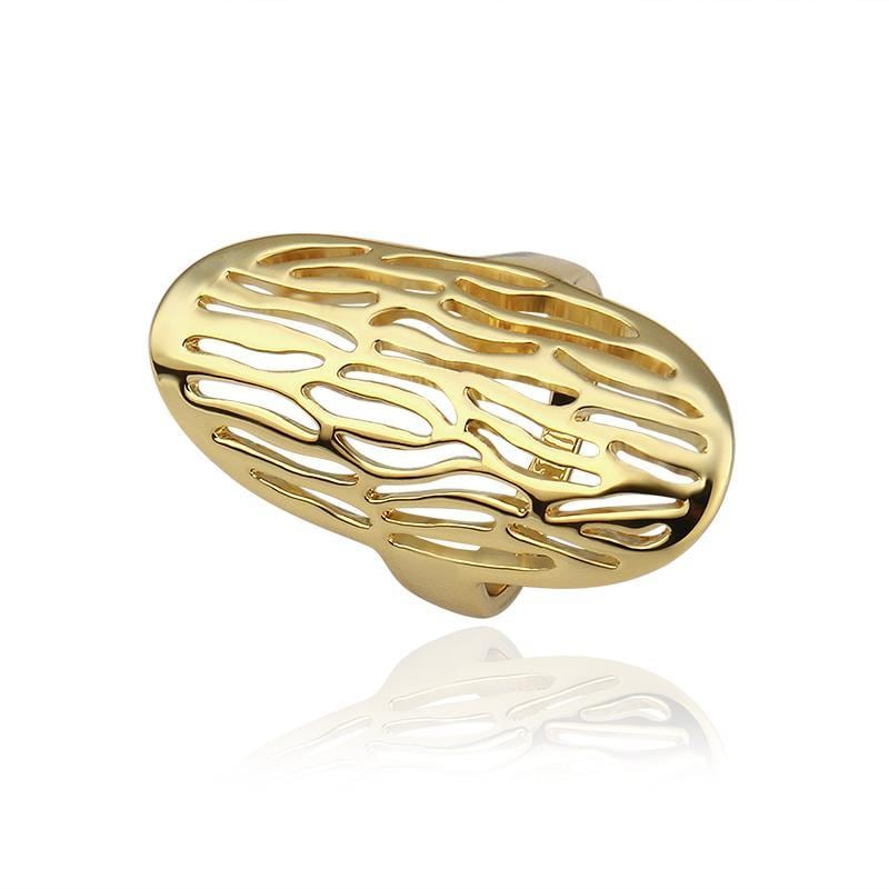 Vienna Jewelry Gold Plated Laser Cut Beverly Hills Inspired Ring Size 8