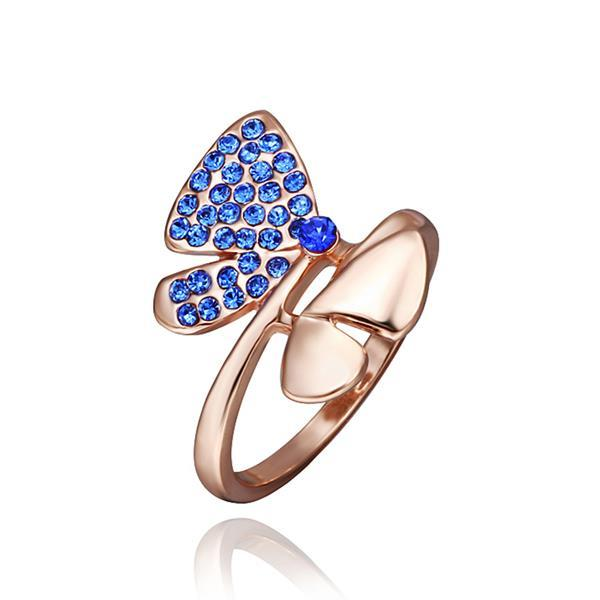 Vienna Jewelry Rose Gold Plated Saphire Jewels Covering Butterfly Ring Size 8