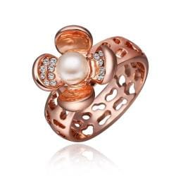 Vienna Jewelry Rose Gold Plated Open Floral Pearl Ring Size 8 - Thumbnail 0