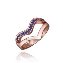 Vienna Jewelry Rose Gold Plated Swirl Lock Design with Saphire Jewels Covering Size 8 - Thumbnail 0