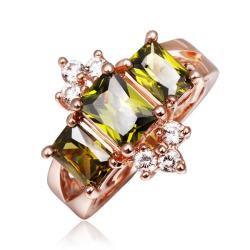 Vienna Jewelry Rose Gold Plated Emerald Crown Jewel Ring Size 8 - Thumbnail 0