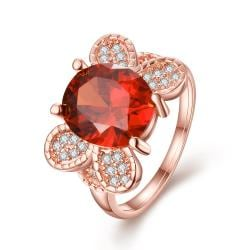 Vienna Jewelry Rose Gold Plated Flying Ruby Butterfly Ring Size 8 - Thumbnail 0