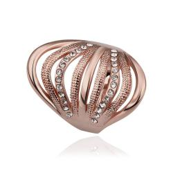 Vienna Jewelry Rose Gold Plated Half Wheel Crystal Lining Ring Size 8 - Thumbnail 0