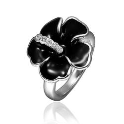 Vienna Jewelry White Gold Plated Onyx Classic Floral Ring Size 8 - Thumbnail 0