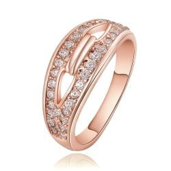 Vienna Jewelry Rose Gold Plated Swirl Heart Locked Crystal Covering Ring Size 7 - Thumbnail 0