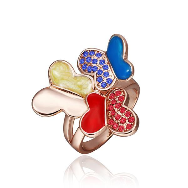 Vienna Jewelry Rose Gold Plated Trio Saphire & Ruby Flying Butterfly Ring Size 8