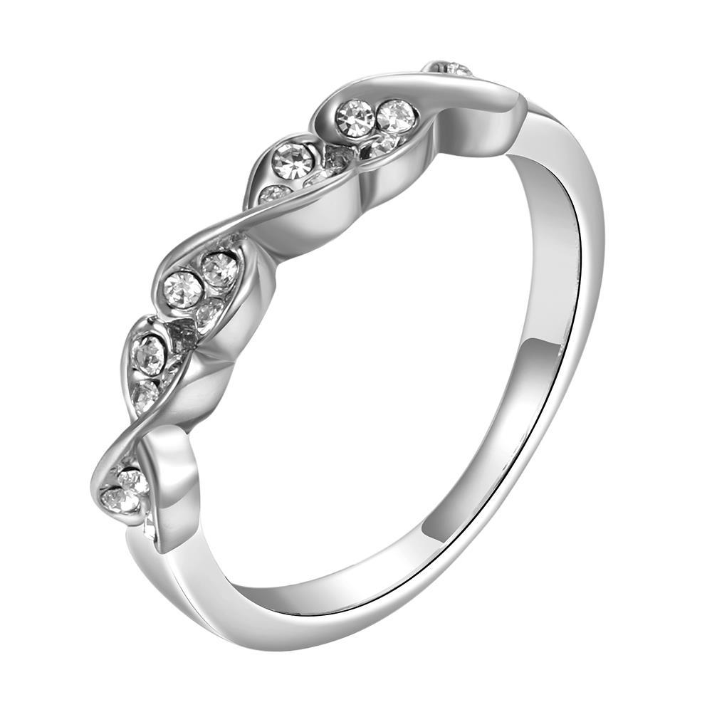 Vienna Jewelry White Gold Plated Heart Swirl Design Classical Ring Size 8