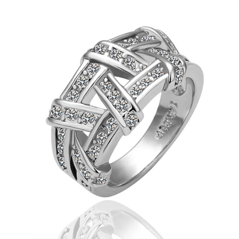 Vienna Jewelry White Gold Plated Abstract Tied Jewels Covering Ring Size 8
