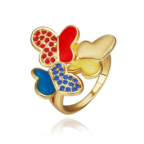 Vienna Jewelry Gold Plated Trio Saphire & Ruby Flying Butterfly Ring Size 8