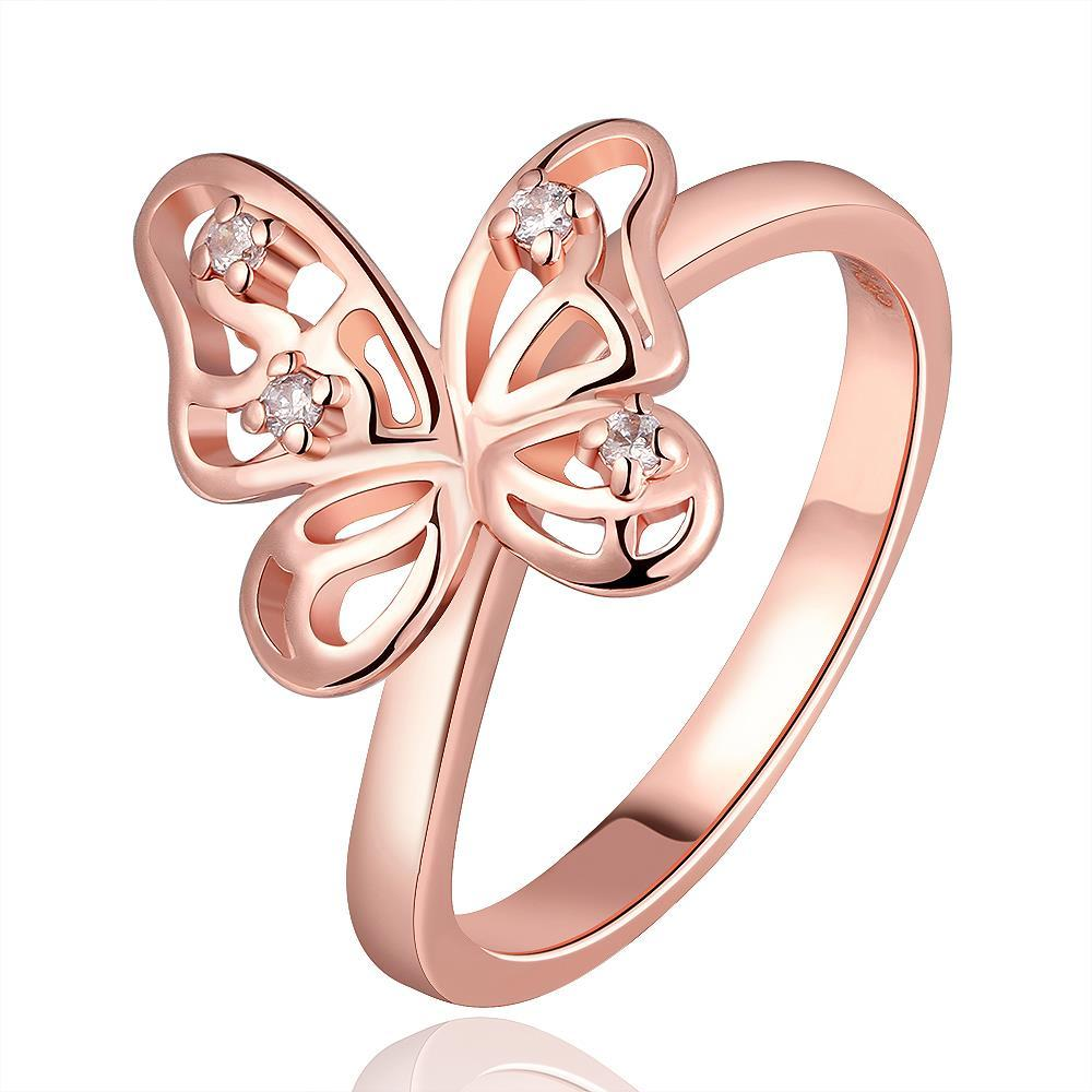Vienna Jewelry Rose Gold Plated Petite Butterfly Ring Size 8