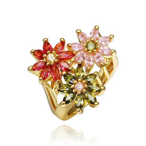 Vienna Jewelry Gold Plated Blossoming Floral Ring Size 8