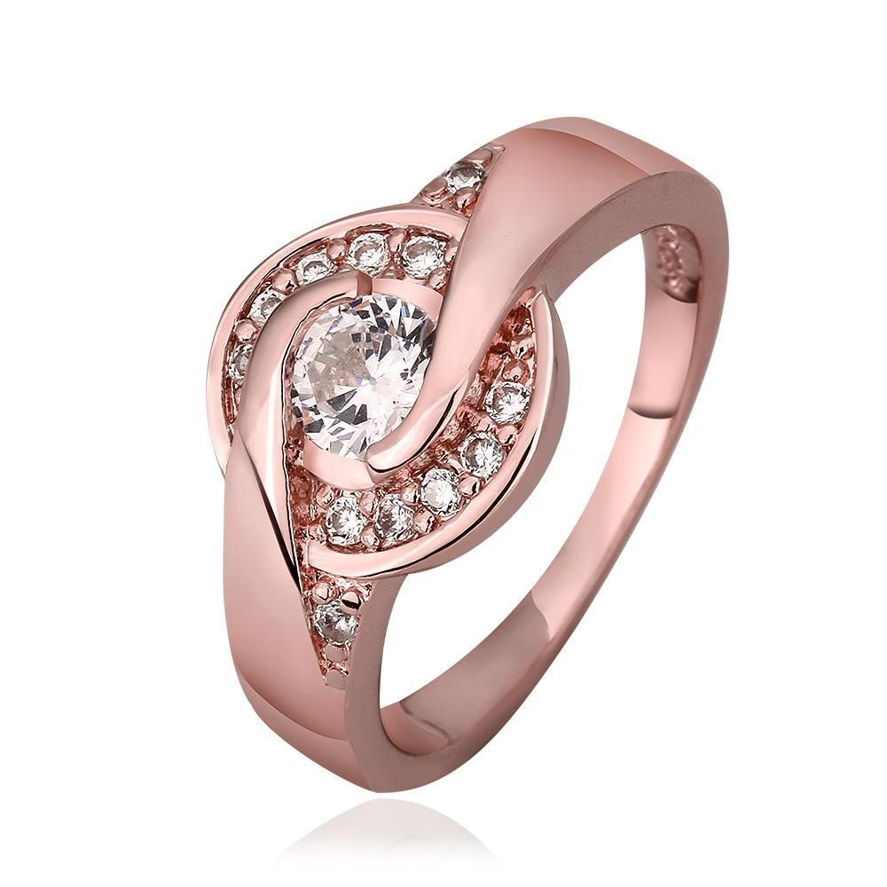 Vienna Jewelry Rose Gold Plated Circular Emblem Ring Size 8