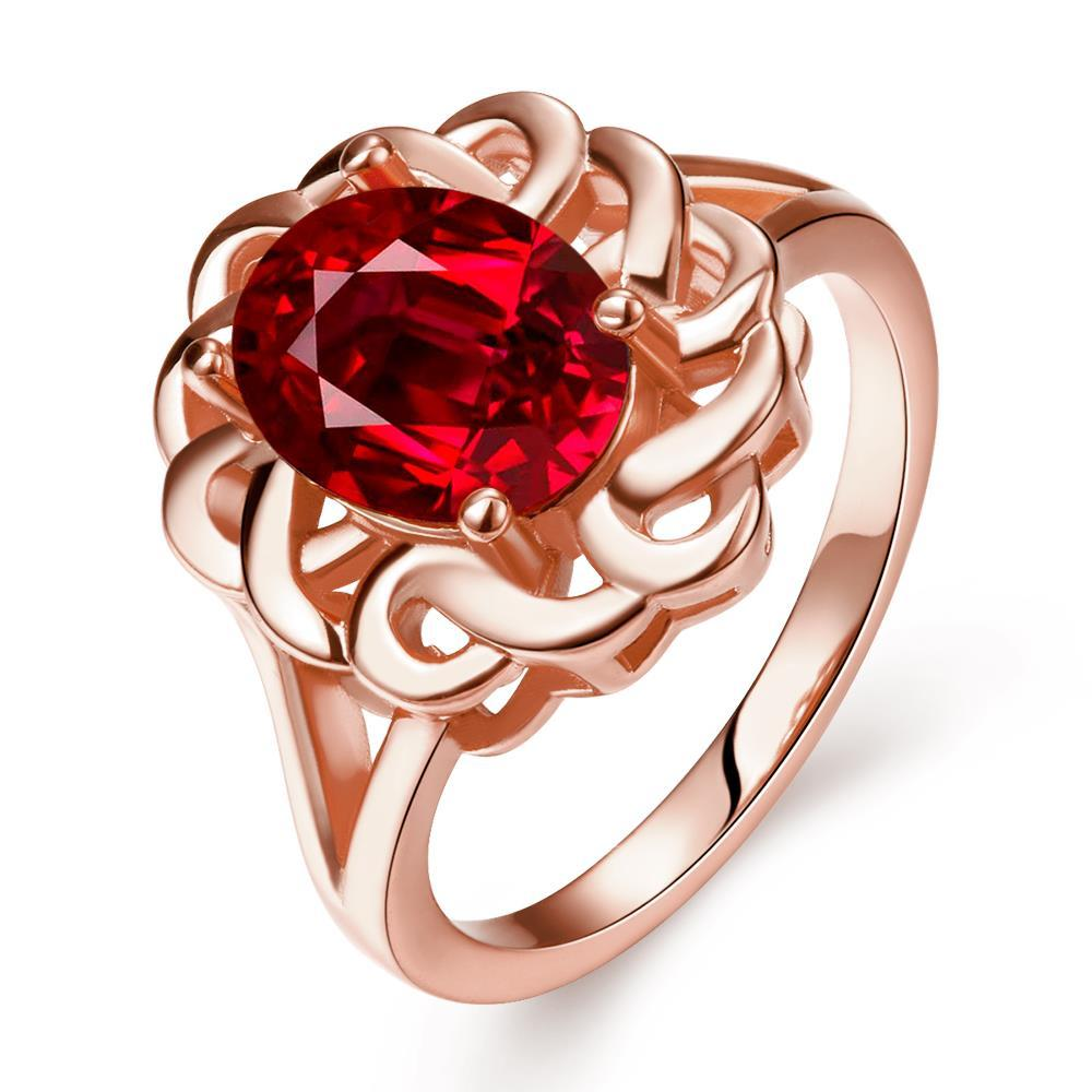 Vienna Jewelry Rose Gold Plated Chain Lock Ruby Red Ring Size 7