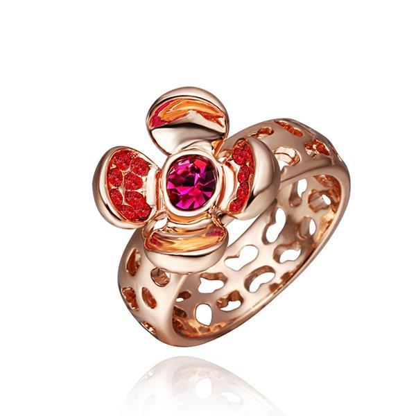 Vienna Jewelry Rose Gold Plated Open Coral Gem Ring Size 8