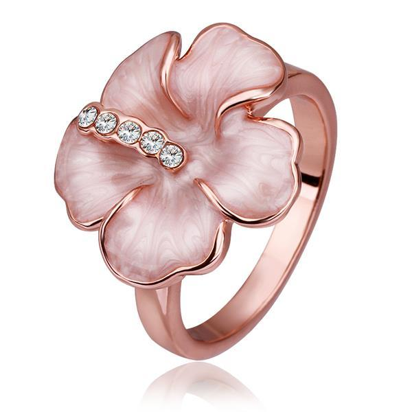 Vienna Jewelry Rose Gold Plated Coral Floral Petal Ring Size 8
