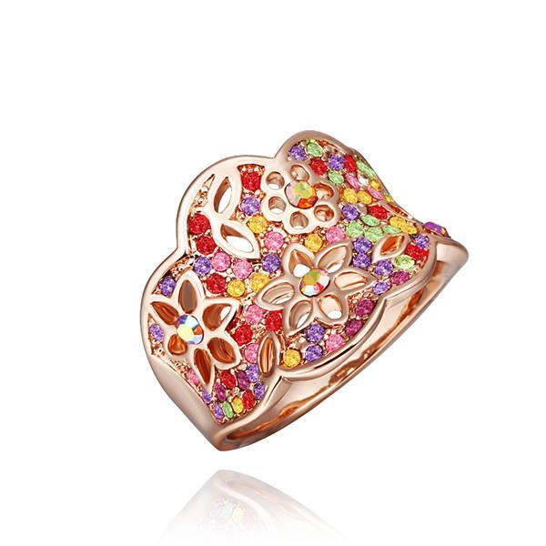 Vienna Jewelry Rose Gold Plated Rainbow Jewels Covering Tiara Hollow Ring Size 8