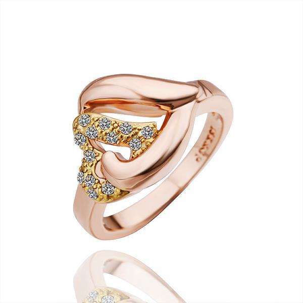 Vienna Jewelry Rose Gold Plated Heart Shaped Clasp Ring Size 8