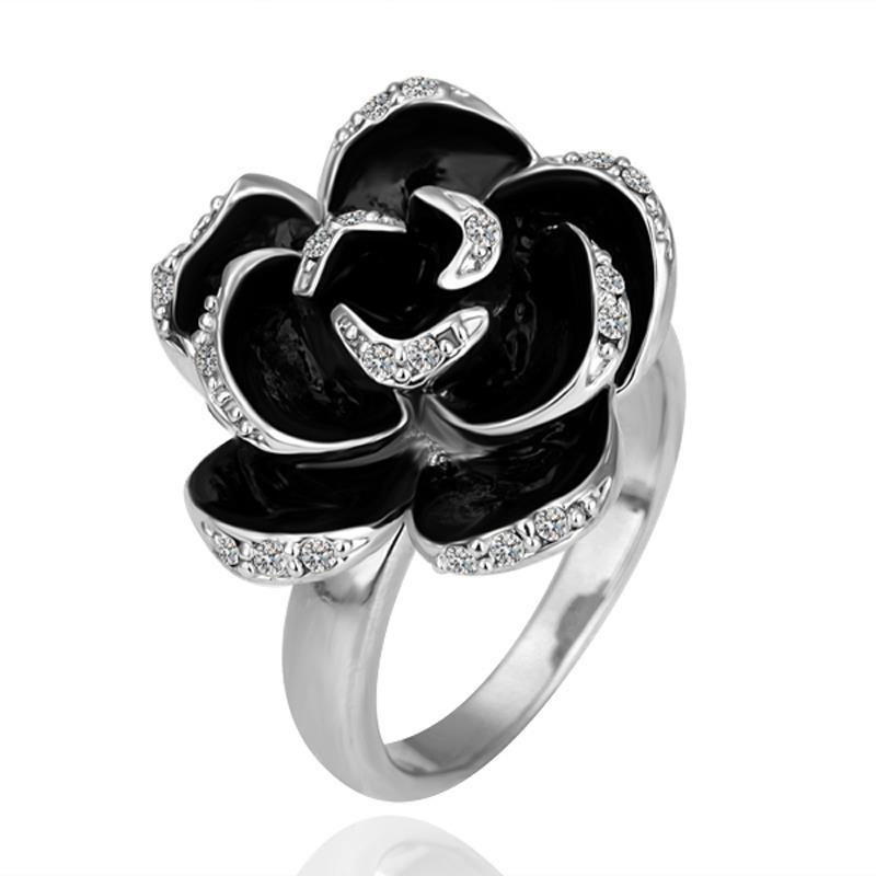 Vienna Jewelry White Gold Plated Onyx Floral Petal Ring Size 7