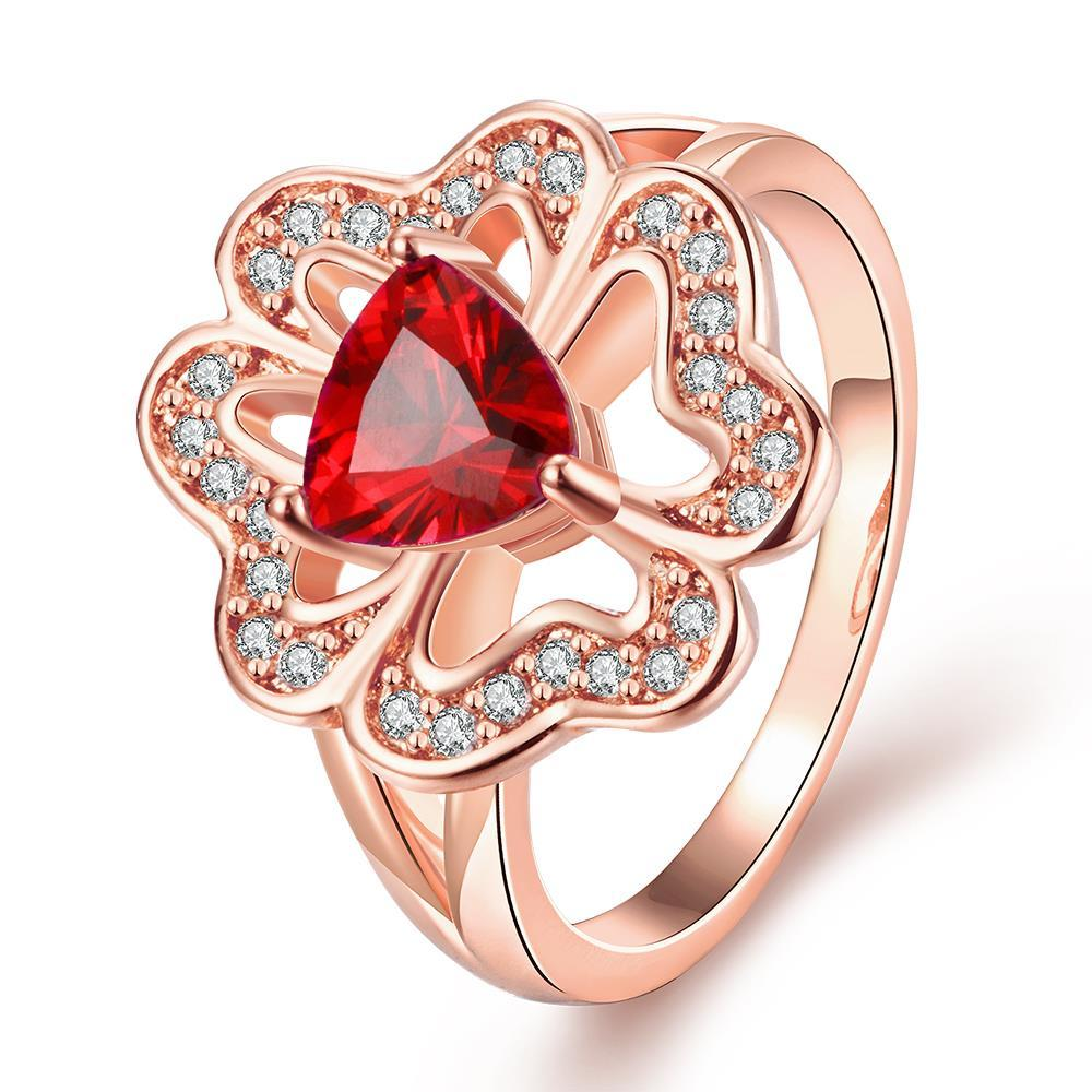 Vienna Jewelry Rose Gold Plated Triangular Ruby Clover Shaped Ring Size 7