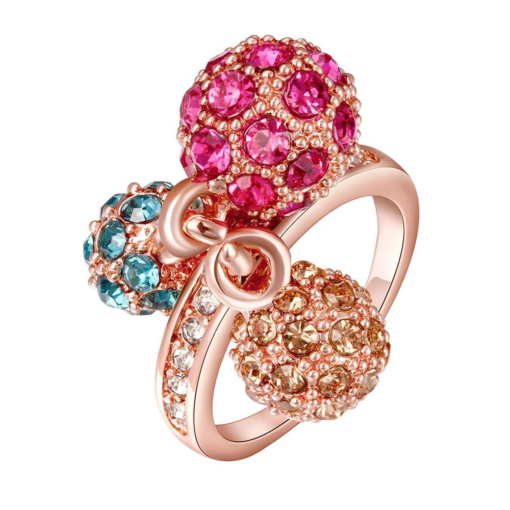 Vienna Jewelry Gold Plated Trio Raibow-Sphere Ring Size 8