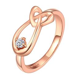 Vienna Jewelry Rose Gold Plated Abstract Curved Matrix Loop Ring Size 8 - Thumbnail 0