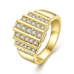Vienna Jewelry Gold Plated Muli Lined Jewels Covering Ring Size 8 - Thumbnail 0